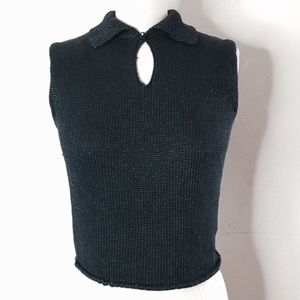Vintage Chanel navy  blue knit top s